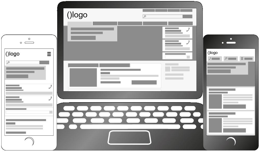 Responsive Webseite vor und nach der mobil-optimierten Bearbeitung
