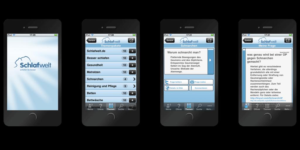 iPhone App für Schlafwelt.de, basierend auf der hiogi White-Label App