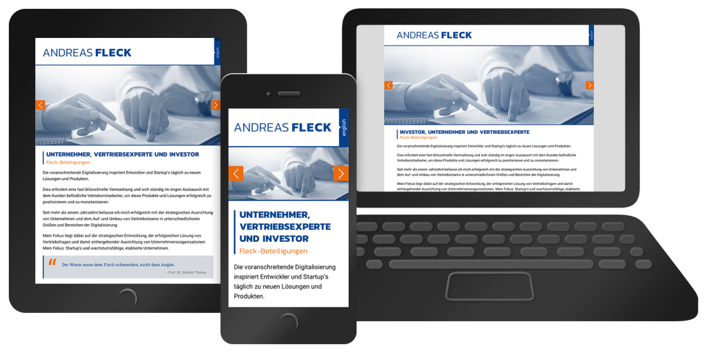 Responsiver One-Pager fleck-beteiligungen.com – Mobil, Tablet, Desktop