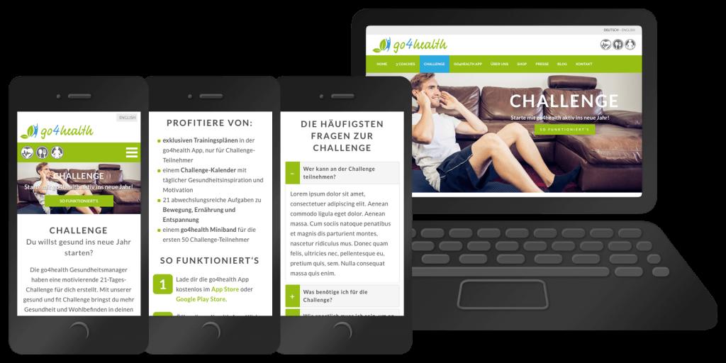 Responsive Webseite der go4health Challenge – Mobil, Tablet, Desktop