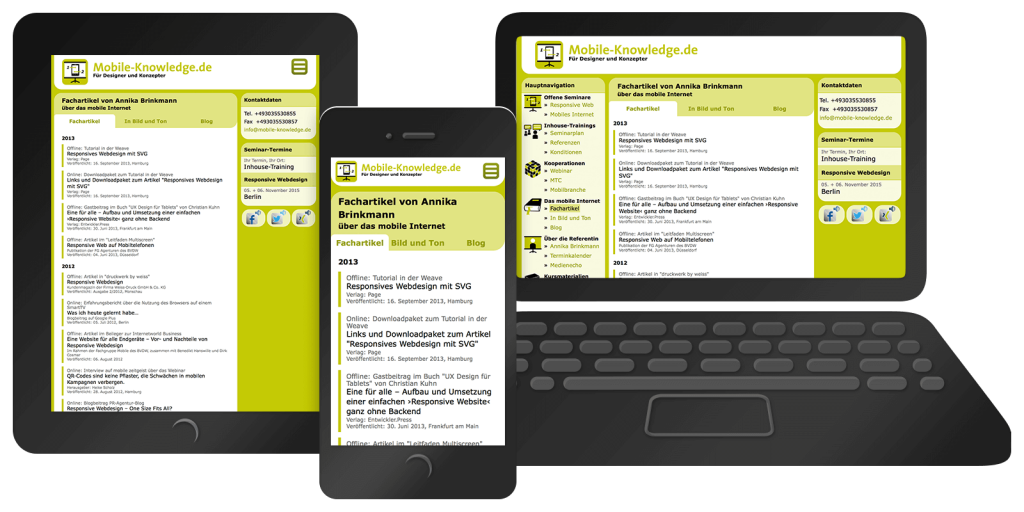 Responsives Webdesign von mobile-knowledge.de – Mobil, Tablet, Desktop