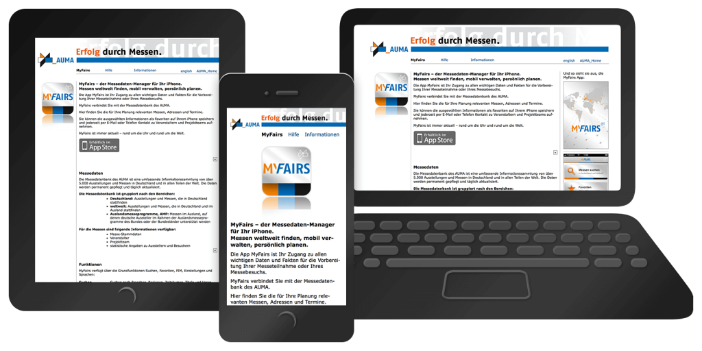 Responsives Webdesign von myfairs.auma.de – Mobil, Tablet, Desktop (2010)