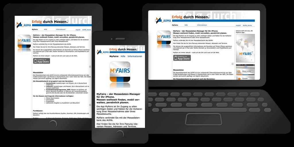 Responsives Webdesign von myfairs.auma.de – Mobil, Tablet, Desktop (2010)