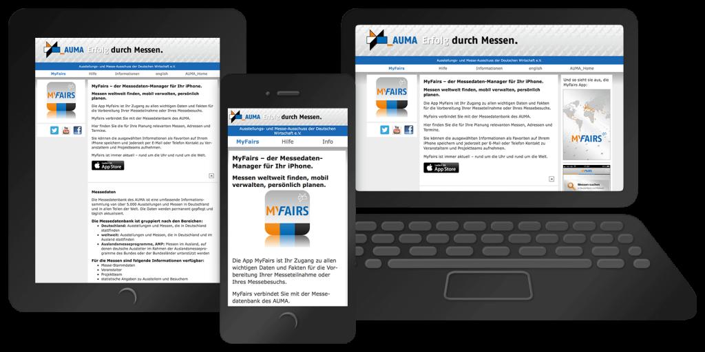 Responsives Webdesign von myfairs.auma.de – Mobil, Tablet, Desktop (2013)