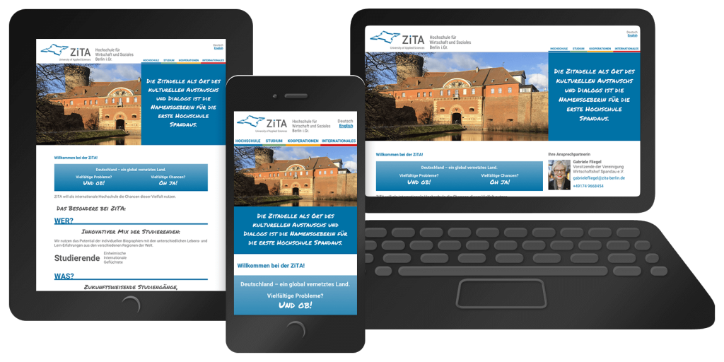 Responsives Webdesign von zita-berlin.de – Mobil, Tablet, Desktop