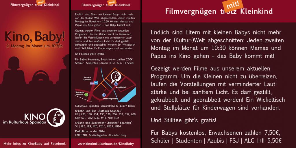"""Flyer-Design für das Kinderwagenkino """"Kino, Baby!"""" in Berlin-Spandau"""