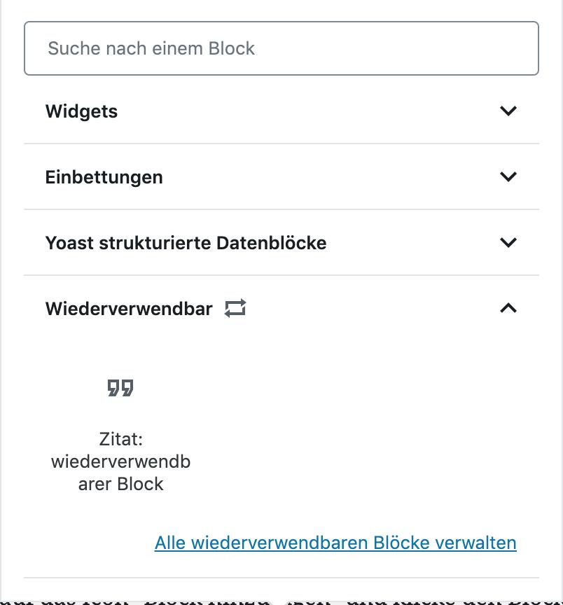 Wiederverwendbare Blöcke im WordPress-Dialog