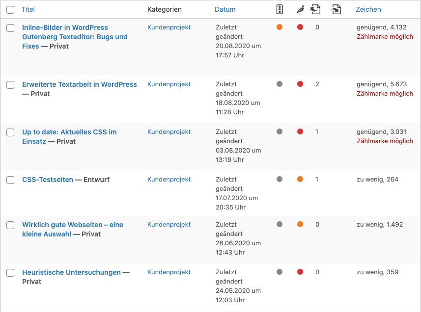 Die Liste meiner WordPress-Beiträge nach der Überarbeitung